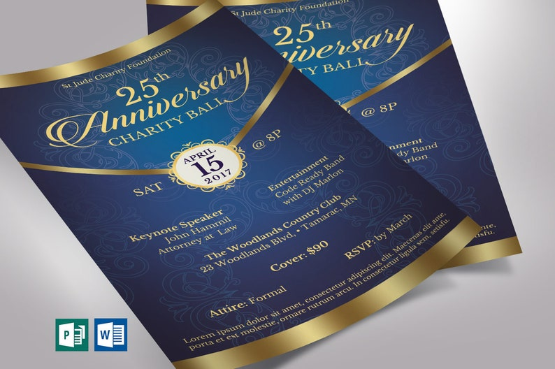 Blue Gold Anniversary Gala Flyer Publisher Word Template  image 0