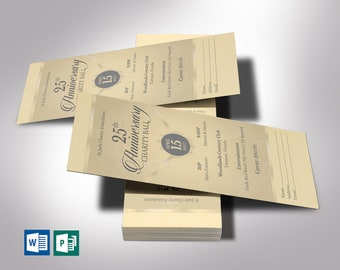 """Anniversary Banquet Ticket Word Publisher Template   Champagne Gray   Size 3""""x7"""""""