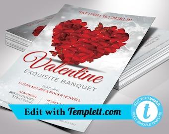 Petals Valentines Banquet Flyer Templett - Editable in any web browser on templett.com