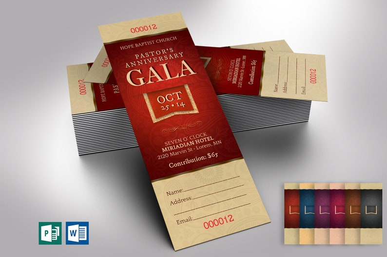 Pastor Appreciation Gala Ticket Word Publisher Template  6 image 0