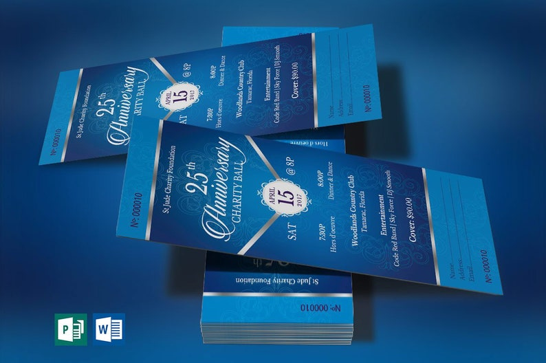 Blue Silver Anniversary Banquet Ticket Word Publisher Template image 0