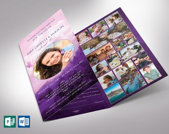 """Purple Sky Trifold Funeral Program Word Publisher Template 