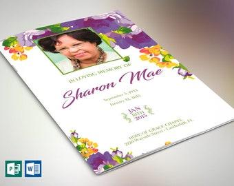 Purple Watercolor Funeral Program Word Publisher Template