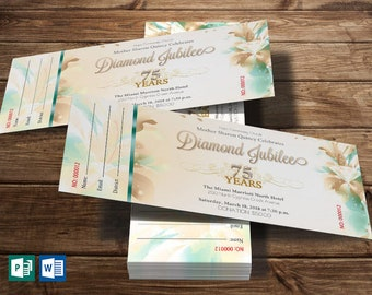 """Teal Anniversary Ticket Word Publisher Template 
