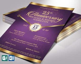"""Purple Gold Anniversary Gala Flyer Word Publisher Template 