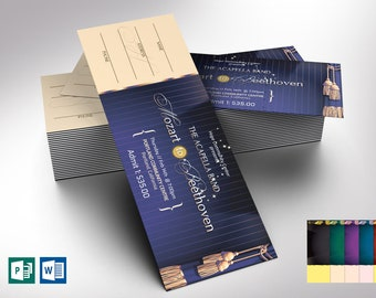 """Musical Event Ticket Word Publisher Template   6 Backgrounds   Size: 6""""x2"""""""