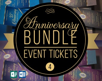 """Anniversary Banquet Ticket Template Bundle 