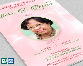 """Pink Rose Funeral Program Word Publisher Template 8 Pages 