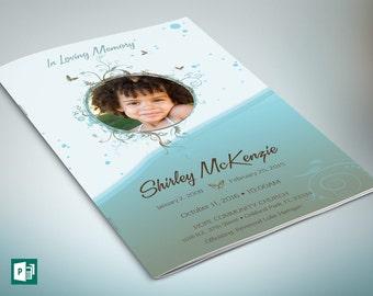 Blue Princess Funeral Program Publisher Template