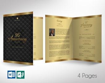 "Gold Black Church Anniversary Program Tabloid Word Publisher Template | 4 Page | *Editable Colors | Print Size 11""x17"" | Bi-fold to 8.5""x11"""