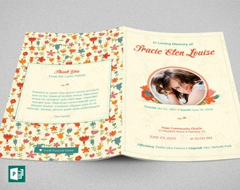 Floral Glory Funeral Program Publisher Template