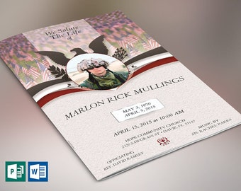 """American Marine Funeral Program Word Publisher Template   4 Pages   Print Size: 8.5""""x11""""   Bi-fold to 5.5""""x8.5"""""""