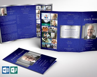 """Blue Silver Tabloid Trifold Funeral Program Word Publisher Template V1   Print Size 11""""x17""""   Trifold Size 5.75""""x11"""""""