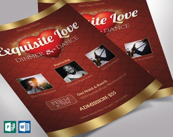 """Valentines Dinner Dance Flyer Word Publisher Template   4 background   Size: 4""""×6"""""""