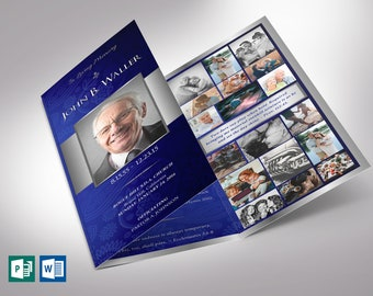 """Blue Silver Trifold Funeral Program Word Publisher Template V1 
