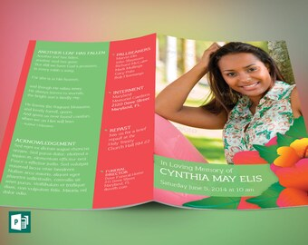 Tropical Funeral Program Publisher Template