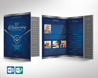 """Blue Silver Anniversary Gala Program Word Publisher Large Template 
