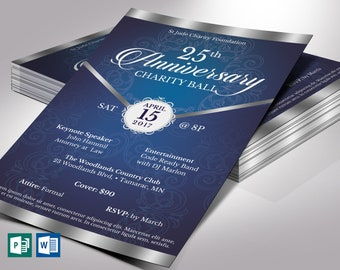 """Blue Silver Anniversary Gala Flyer Word Publisher Template 