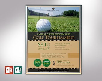 """Charity Golf Tournament Poster PowerPoint Publisher Template   Editable Colors   Size 22""""x28"""""""