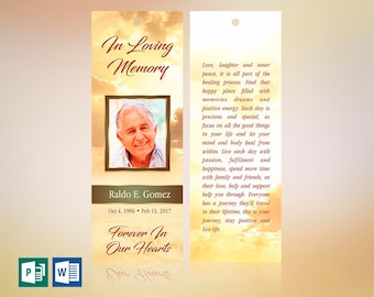 """Gold Forever Memorial Bookmark Word Publisher Template 