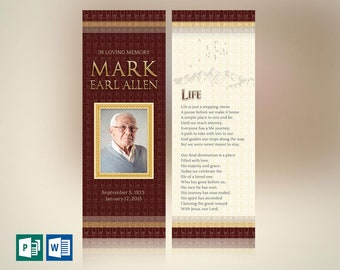 """Legacy Memorial Bookmark Word Publisher Template 