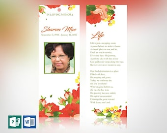 """Orange Watercolor Funeral Bookmark Word Publisher Template 