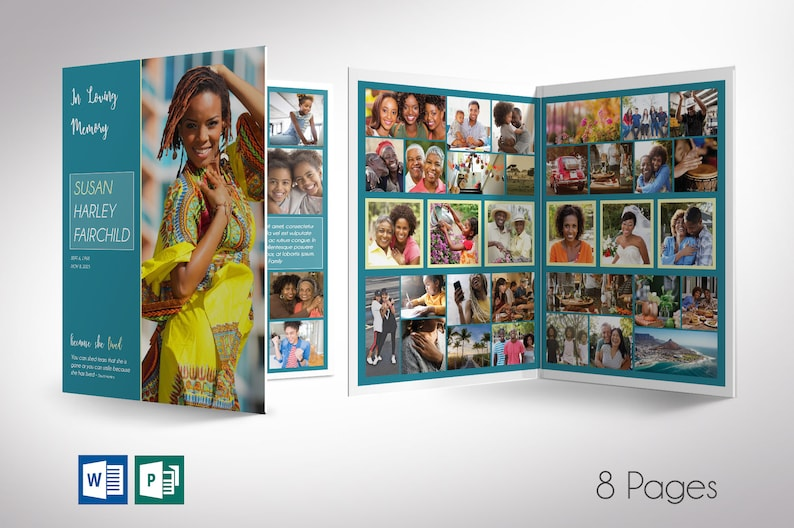 Teal Tabloid Funeral Program Word Publisher Template  8 Pages image 0