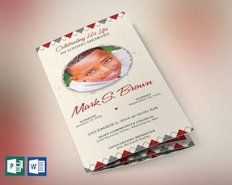 "Argyle Trifold Funeral Program Word Publisher Template | Editable Colors | Print size: 8.5""x11"""