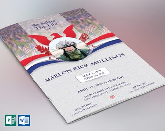 """American Military Funeral Program Word Publisher Template   4 Pages   Print size: 8.5""""x11""""   Bi-fold to 5.5""""x8.5"""""""