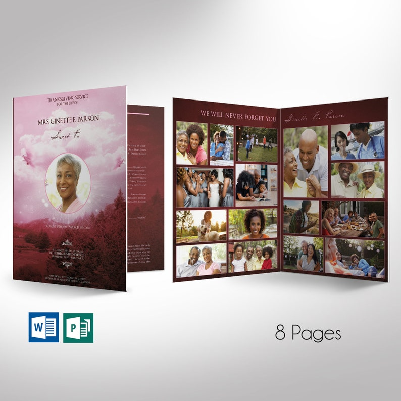 Pink Sky Funeral Program Word Publisher Large Template  image 0