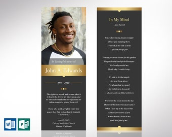 """Remember Gold Funeral Bookmark Word Publisher Template 