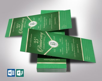 """Anniversary Banquet Ticket Word Publisher Template   Emerald Green Champagne   Size 3""""x7"""""""