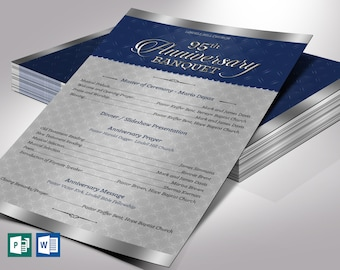"""Silver Blue Church Anniversary Program One Sheet Word Publisher Template 