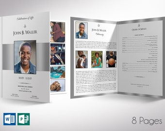 """White Silver Funeral Program Tabloid Word Publisher Template 