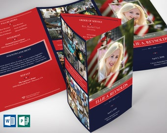 """American Military Legal Trifold Funeral Program Word Publisher Template - V2   Editable Colors   Size: 8.5""""x14"""""""