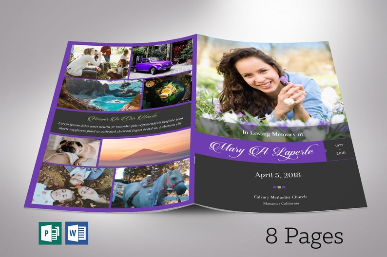 Remember Purple Funeral Program Word Publisher Template 8 image 0