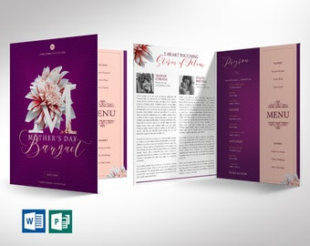 """Mothers Day Banquet Program Word Publisher Template - Large - 4 Pages 