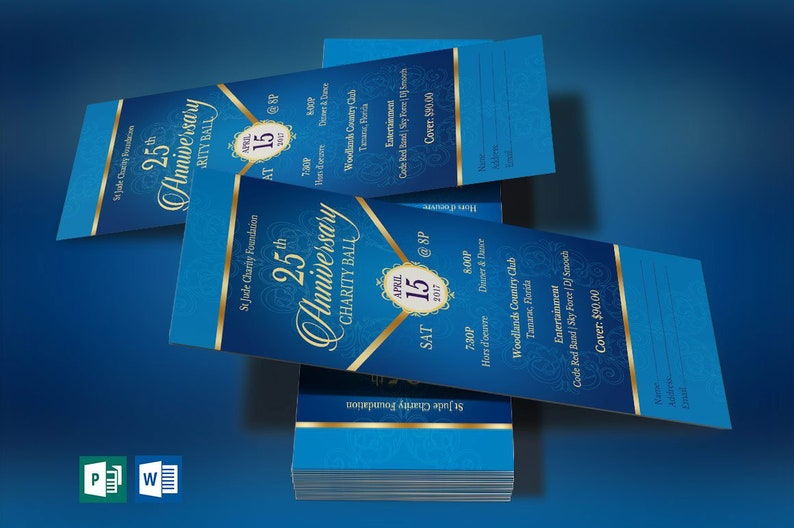 Blue Gold Anniversary Banquet Ticket Word Publisher Template  image 0