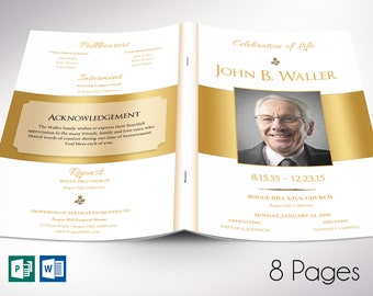 """White Gold Funeral Program Word Publisher Template   8 Pages   Editable Colors   Print size: 8.5""""x11""""   Bi-fold to 5.5""""x8.5"""""""
