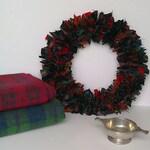 Scottish Clan Tartan rag wreath, handmade wreath, decorative wreath, wedding wreath