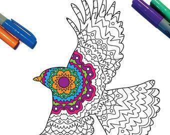 Flying Bird Silhouette Mandala