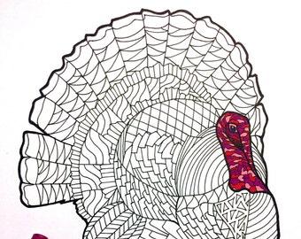Turkey - PDF Zentangle Coloring Page