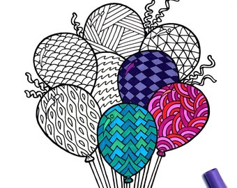 Balloons - PDF Coloring Page