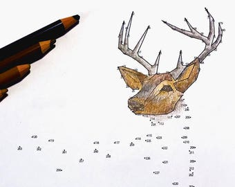Deer - Extreme Dot to Dot - PDF Activity and Coloring Page