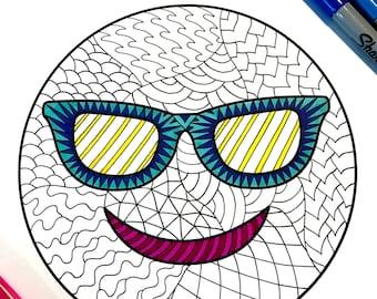 Kiss Emoji PDF Zentangle Coloring Page