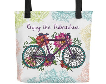 """Bicycle Tote Bag - with quote: """"Enjoy the Adventure"""""""