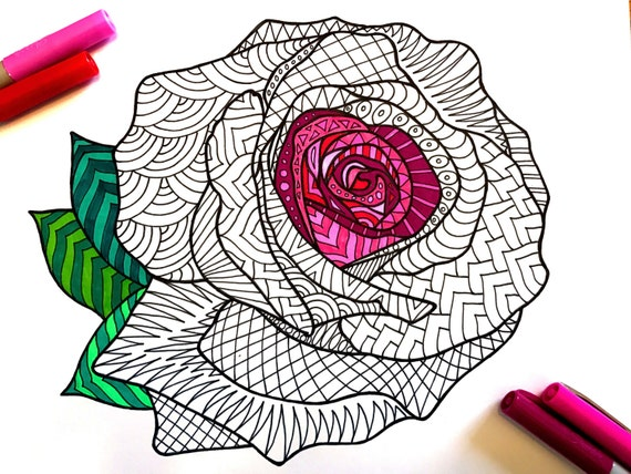 Rose PDF Zentangle Coloring Page
