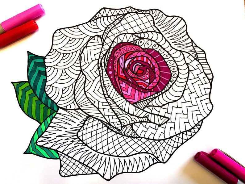 Rose Pdf Zentangle Coloring Page Etsy