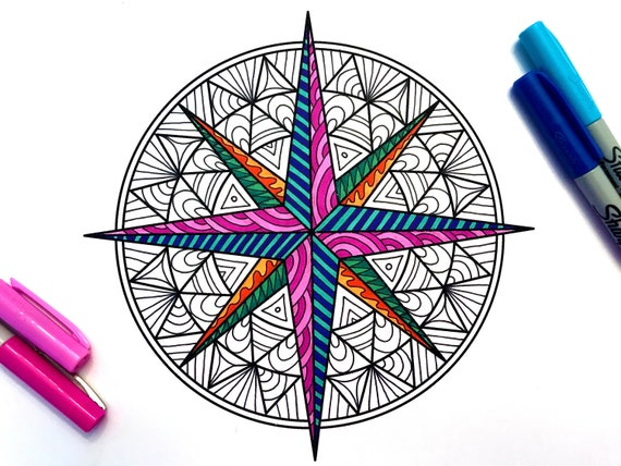 Compass Rose PDF Zentangle Coloring Page
