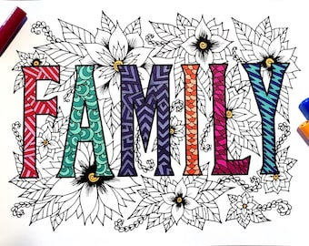 FAMILY - PDF Zentangle Coloring Page
